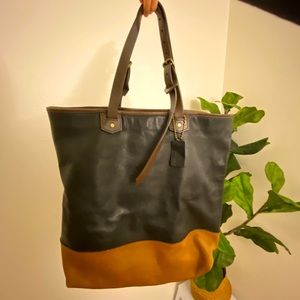 COACH MENS TWO TONE LEATHER TOTE